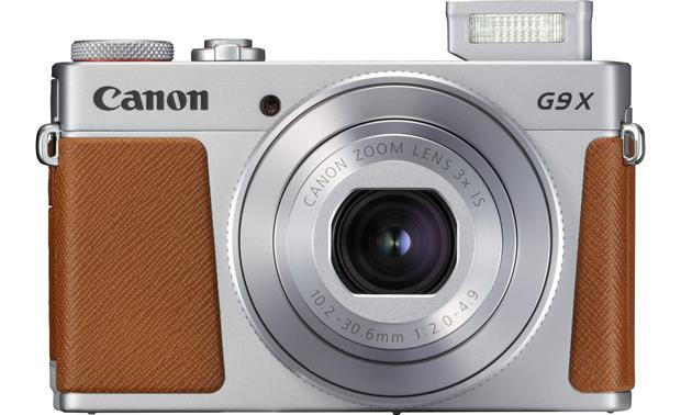 Canon PowerShot G9 X Mark II Shown with flash popped up