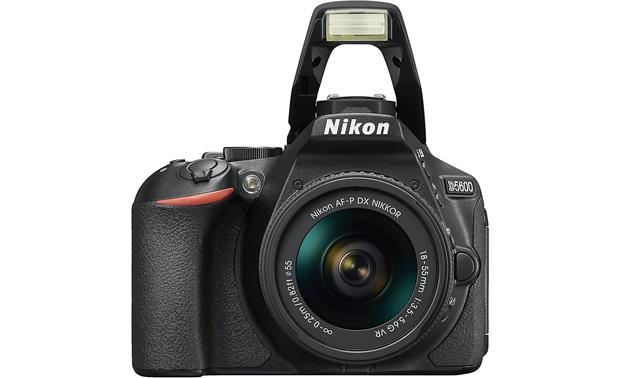 Nikon D5600 Kit Front, with flash popped up