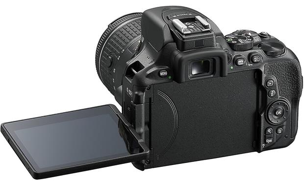 Nikon D5600 Two Lens Kit Shown with touchscreen flipped out
