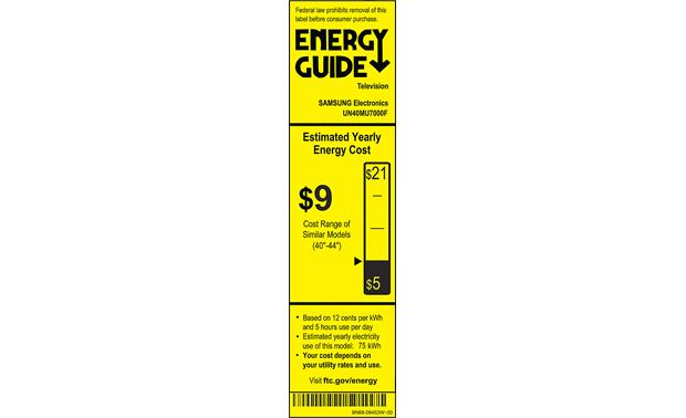 Samsung UN40MU7000 Energy Guide