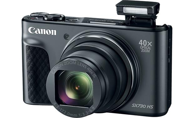 Canon PowerShot SX730 HS Front, with flash popped up