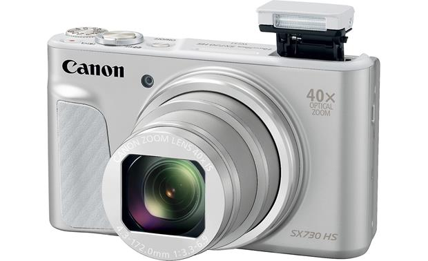 Canon PowerShot SX730 HS Shown with flash popped up