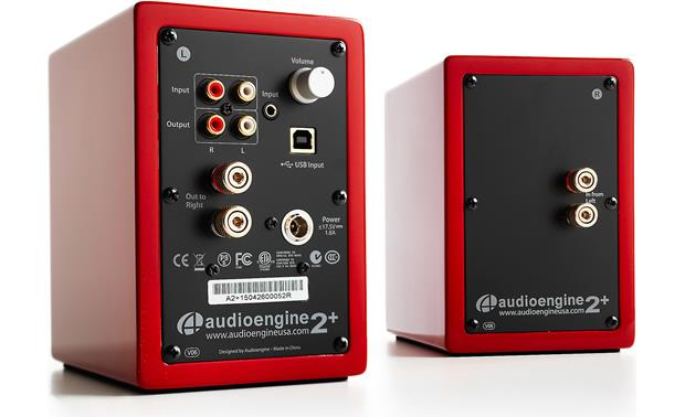 Audioengine A2+/Pro-Ject Debut Carbon/Phono Box DC Bundle Back of speakers, showing connections