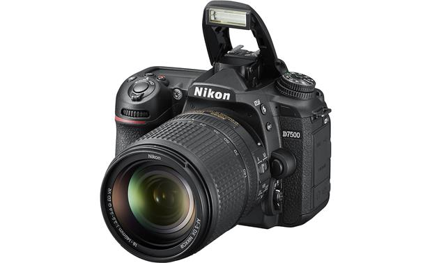 Nikon D7500 Kit Shown with flash popped up