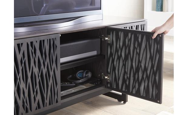 BDI Elements 8779 Charcoal w/Wheat Doors - laser-cut wood doors with perforated metal panels (sound bar and accessories not included)