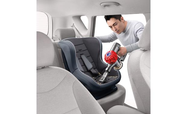 Dyson V6 Car+Boat Cleaning out your kid's car seat is quick and easy