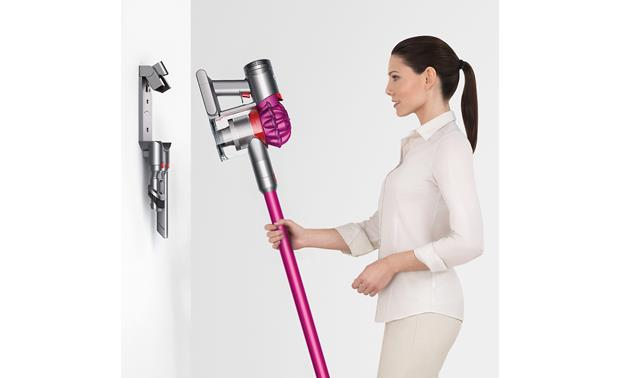 Dyson V7 Motorhead The wall-mounted docking station charges and stores the V7