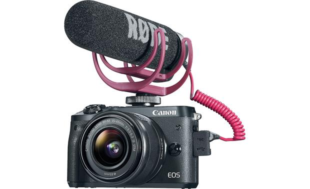 Canon EOS M6 Video Creator Kit Front, with microphone attached