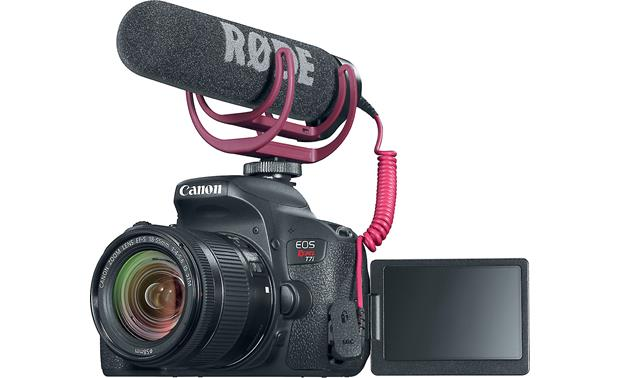 Canon EOS Rebel T7i Video Creator Kit Front, with microphone attached