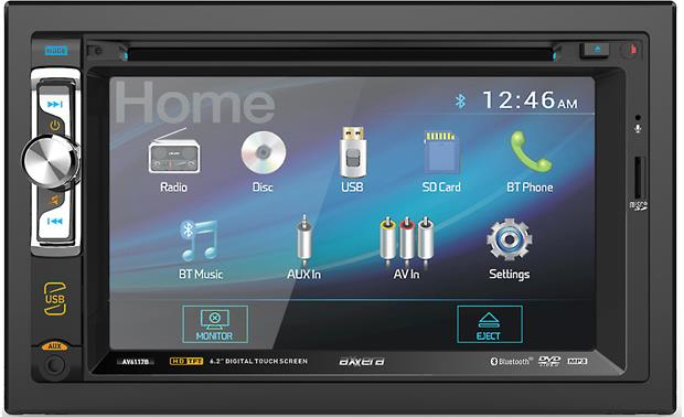 Axxera AV6117B This double-DIN touchscreen receiver offers music via USB, CD, DVD, microSD card, and wireless streaming from your phone