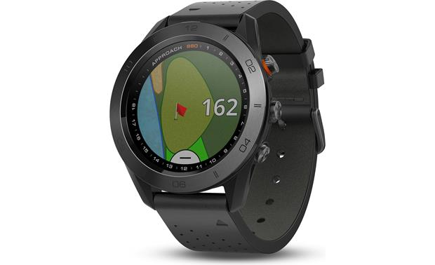 Garmin Approach® S60 This sleek looking watch features a black leather band and a scratch-resistant bezel.