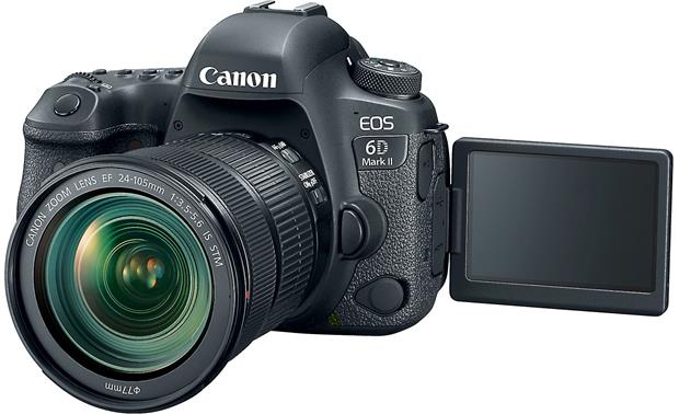 Canon EOS 6D Mark II Kit Front, with touchscreen flipped out