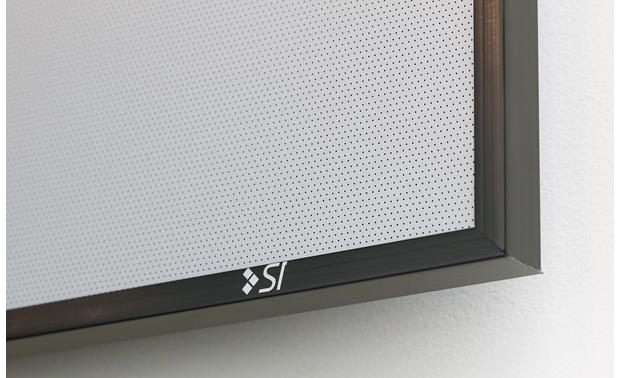 Screen Innovations 5 Series Over 28,000 tiny holes per square foot let sound pass through (shown with Zero Edge frame)