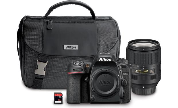 Nikon D7500 18-300mm Lens Kit Shown with included accessories
