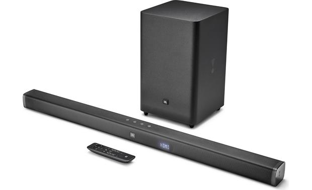 JBL Bar 2.1 System shown with included remote (also learns your TV remote volume commands)