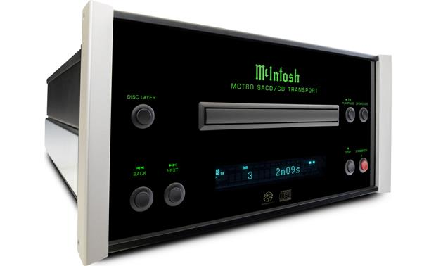 McIntosh MCT80 polished stainless steel chassis with black glass front panel, illuminated logo, and aluminum end caps