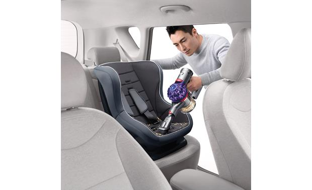 Dyson V7 Car+Boat Cleaning out your kid's car seat is quick and easy
