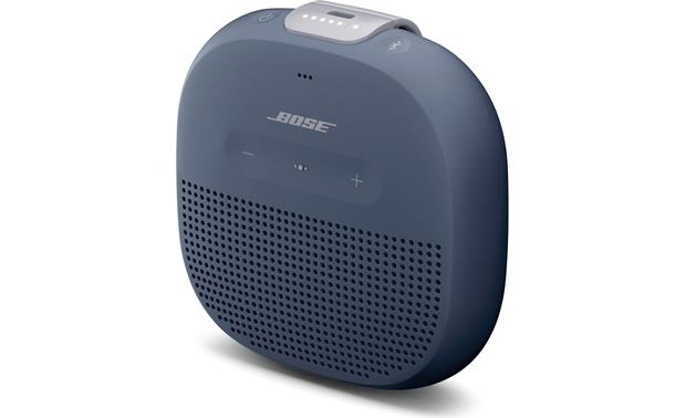 Bose® SoundLink® Micro <em>Bluetooth®</em> speaker Blue with gray strap - right front