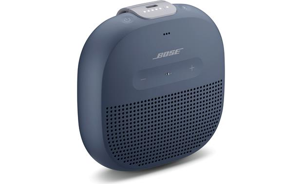 Bose® SoundLink® Micro <em>Bluetooth®</em> speaker Blue with gray strap - left front