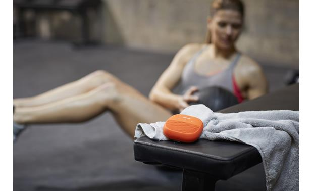 Bose® SoundLink® Micro <em>Bluetooth®</em> speaker Orange with Purple strap - plays clearly and loud