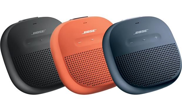 Bose® SoundLink® Micro <em>Bluetooth®</em> speaker Available in Black with Black strap, Orange with Purple strap, or Blue with Gray strap