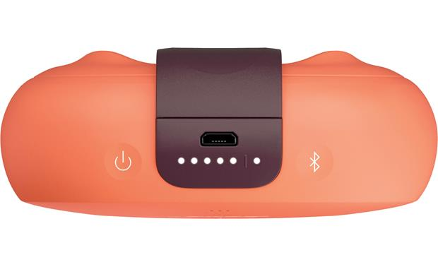 Bose&reg; SoundLink&reg; Micro <em>Bluetooth&reg;</em> speaker Orange with Purple strap - top-mounted controls