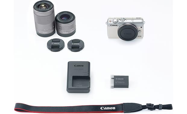 Canon EOS M100 Two Lens Kit Shown with included accessories