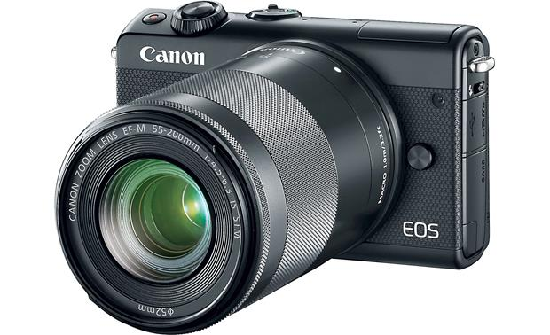 Canon EOS M100 Two Lens Kit Shown with 55-200mm lens attached