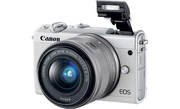 Canon EOS M100 Two Lens Kit Shown with flash popped up