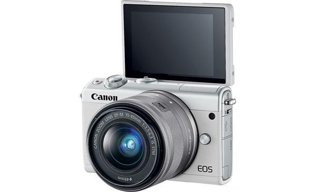 Canon EOS M100 Two Lens Kit Touchscreen faces forward for easy self-portrait framing