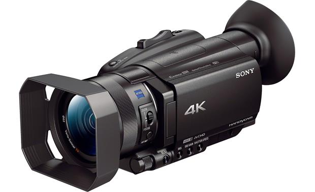 Sony Handycam® FDR-AX700 Shown with eye cup and lens hood in place