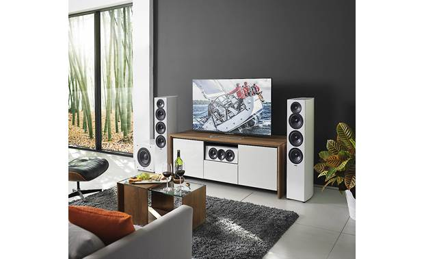 Revel Concerta2 F36 A Concerta2 surround sound system anchored by a pair of F36s (grilles off)