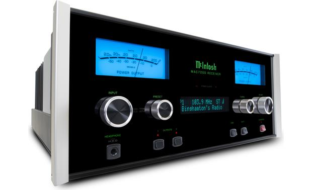McIntosh MAC7200 Polished stainless steel chassis with black glass front panel, illuminated logo, and aluminum end caps