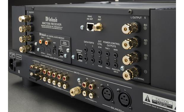McIntosh MAC7200 Output terminals feature 3 different taps for matching the impedance of your speakers