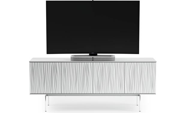 "Smooth Satin White Smooth Satin Finish - supports TV up to 85"" (TV not included)"