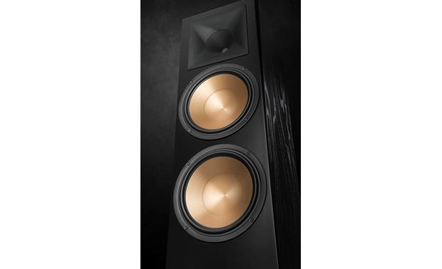 Klipsch Reference RF-7 III Close up of woofers and horn-loaded tweeter