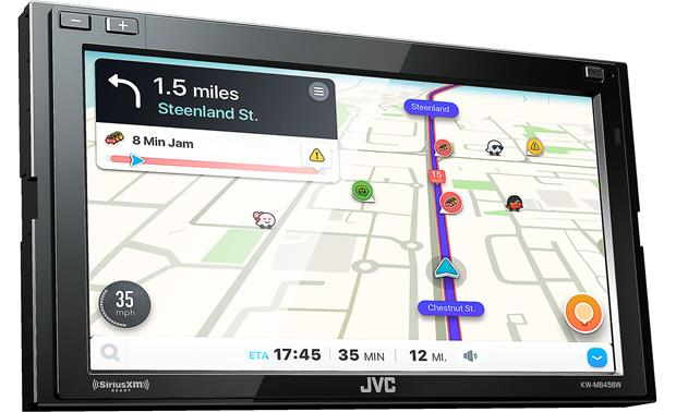 JVC KW-M845BW Use Apple CarPlay or Android Auto to access Waze while your smartphone is connected