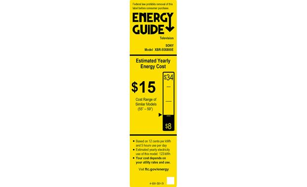 Sony XBR-55X800E Energy Guide
