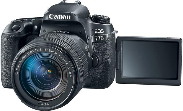 Canon EOS 77D Telephoto Lens Kit Front, with LCD screen flipped out