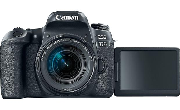 Canon EOS 77D Kit Front, with LCD monitor flipped out