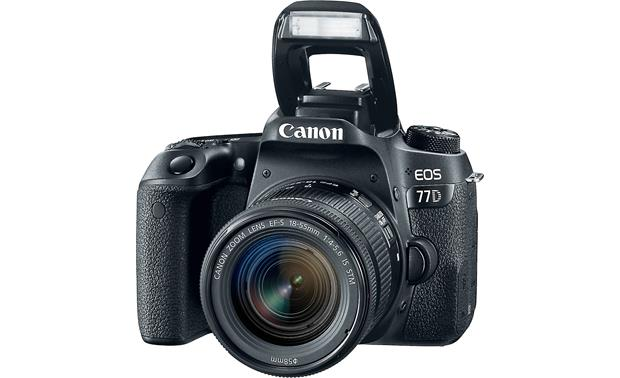 Canon EOS 77D Kit Shown with flash popped up