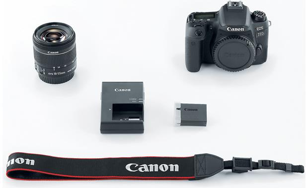 Canon EOS 77D Kit Shown with included accessories