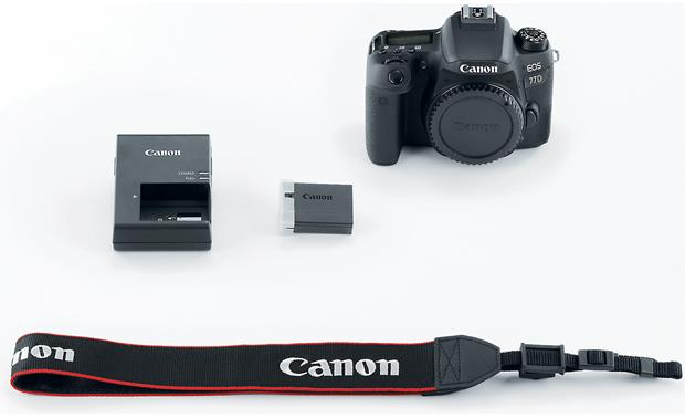 Canon EOS 77D (no lens included) Shown with included accessories