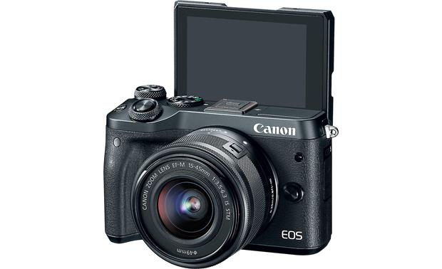 Canon EOS M6 Video Creator Kit Front, with screen tilted upward