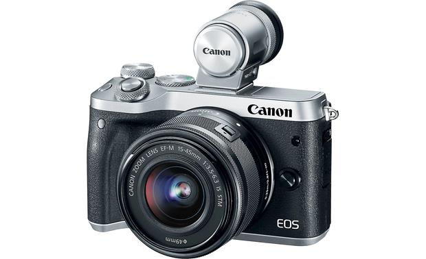 Canon EOS M6 Kit Shown with add-on electronic viewfinder (not included)