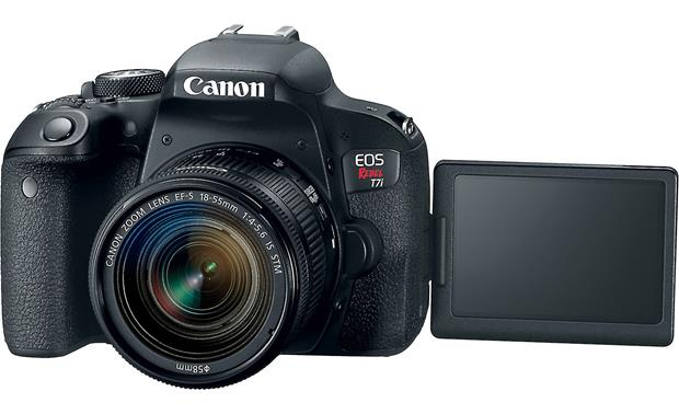 Canon EOS Rebel T7i Kit Front, with LCD screen flipped out
