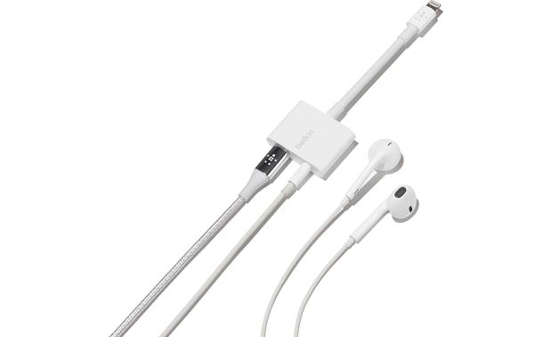 Belkin Audio + Charge Rockstar™ Shown with 3.5mm and Lightning cables and earbuds (not included)