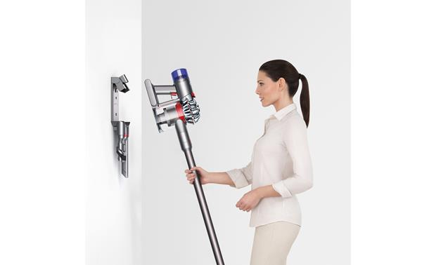 Dyson V7 Animal Stores, and charges, on the wall
