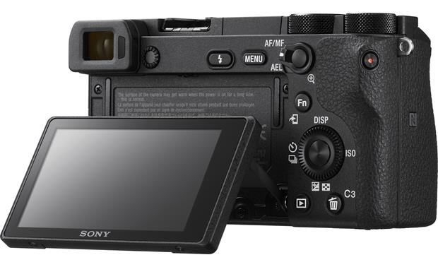 Sony a6500 Telephoto Lens Kit Shown with touchscreen tilted upward