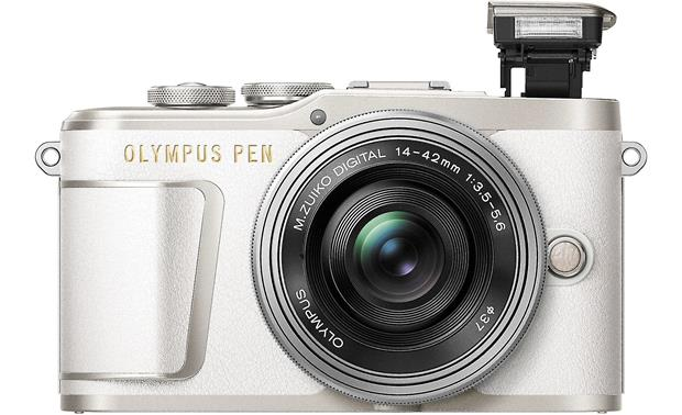 Olympus PEN E-PL9 Kit Front, with flash popped up